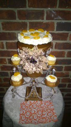 Mandarin orange Birthday cake and cupcake!