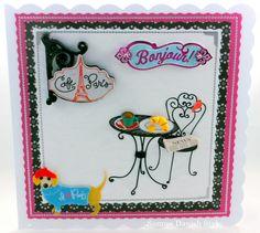 Cafe im Paris. Greeting Card, Grußkarte, Hund, dog