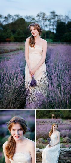 Lavender hairpiece adds soft color to simple wedding style, Marie Labbancz Photography