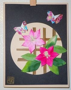 Origami Clematis and Butteflies - Greeting Card