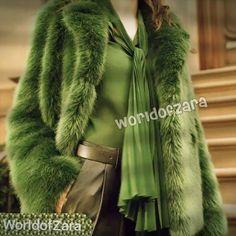 NWT ZARA Long Green Faux Fur Coat $189 Limited Edition #ZARA #BasicCoat
