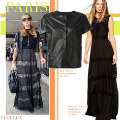 Paris Hilton trägt ein schönes, bodenlanges Maxi-Kleid im Flamenco Style! Dazu kombiniert sie eine Bluse (richtig gehärt) aus Leder!