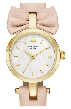 b63dac724f kate spade new york  tiny metro - bow  leather strap watch