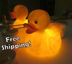Great for a bathroom!!! Rubber Duckie HUGE LED Accent Lamp/Night Light by NoodleDooDesigns, $42.00