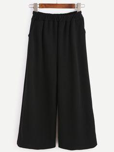 Black Elastic Waist Pockets Wide Leg Pants