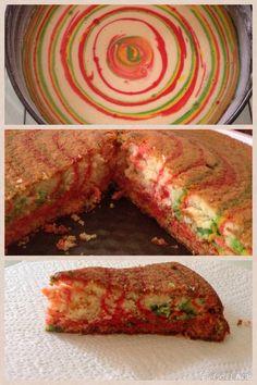 Torta al latte caldo , rainbow cake