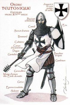 Deutscher Orden (Teutonic Knight), century The Order of Brothers of the German House of Saint Mary in Jerusalem. Medieval Knight, Medieval Armor, Medieval Fantasy, Armadura Medieval, Crusader Knight, Knight Armor, Knights Hospitaller, Knights Templar, Samurai