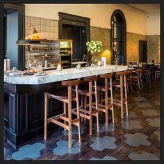 Paint stencilled pattern on Oak flooring at Brasserie Blanc, Cheltenham.
