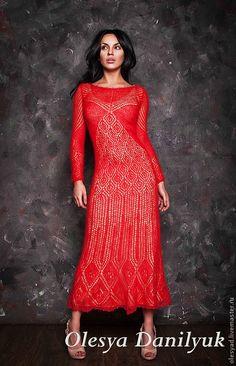 Красное платье - ярко-красный,однотонный,красное платье,вязание на спицах