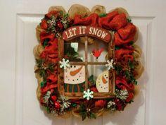 Square Burlap Christmas Wreath/Window Wreath/SnowmanWreath/Let it Snow/Burlap Mesh Ribbon Wreath/Snowflake/Pine cone Wreath/Country/Rustic