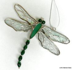 Stained Glass Green Dragonfly Suncatcher | eBay