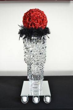 www.lepapillonevents.com, #wedding #centerpiece #red #rose #ball #black #feathers #silver #crystals #toronto #decor #flowers #planning