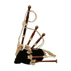 """Bagpipe, Chalice Miniature, Black Cover - Roosebeck by Roosebeck. $186.15. 27"""" x 18"""" assembled. Antique design in rosewood, brass ferrules and sole, imitation ivory mounts, black velvet cover, functional chanter & drones. These Parlor Pipes are perfect for playing indoors.. Save 15%!"""