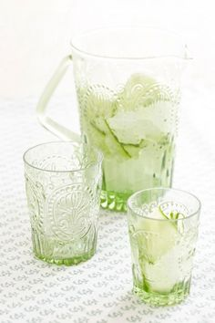 Green Glass Pitcher and Set of Six Tumblers