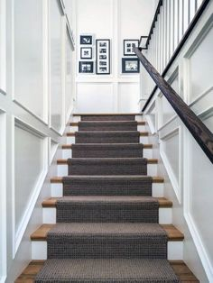 The Upstairs Downstairs Connection: Pick the Right Flooring for Stairs - treppe. Staircase Molding, Stairs Trim, Carpet Staircase, Staircase Runner, Staircase Makeover, Staircase Design, Stair Runners, Hall Carpet, Carpet For Stairs