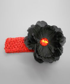 Take a look at this Red & Black Flower Stone Headband by Klassy Kouture on #zulily today!