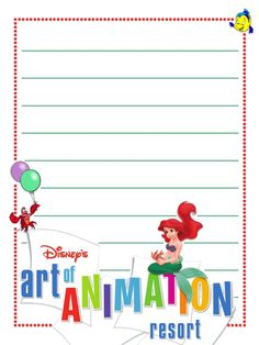"Art of Animation - Little Mermaid  - Project Life Disney Journal Card - Scrapbooking ~~~~~~~~~ Size: 3x4"" @ 300 dpi. This card is **Personal use only - NOT for sale/resale** Logos/clipart belong to Disney."