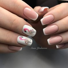 nail art été flamants strass manucure french