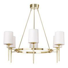 Bristol Chandelier, 6 Light, Antique Brass