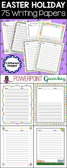 Need to spruce up your Easter writing papers? Here are 75 different Easter themed writing papers perfect for the Easter holiday.Comes in 3 types: Lined paper with the dotted line in the middle (K-2), lined paper with the dotted line AND a drawing box at t