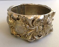 Whiting and Davis Gold Tone Repousse Cuff by Aged2PerfectionShop