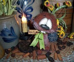"Primitive Beaver 5"" Bear Pup Kitten Buck Doll Vtg Patti's Ratties Artist OOAK"