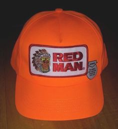 45d337a7cb4 Vintage Red Man SnapBack Trucker Hat Cap Orange Chewing Tobacco Made USA   RedMan  TruckerHat