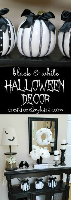 Black and White Halloween Decor Ideas - Halloween is the perfect time of year for decorating with classic black and white!