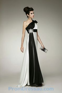 Black And White evening dress | ... -Made Watteau Train One Shoulder Beaded Black and White Prom Dress