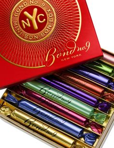 Bond No. 9: The mini bonbon box includes nine 6 ml of top selling EdP (Wall Street, Hamptons, Brooklyn, Chelsea Flowers, Chez Bond, The Scent of Peace, Coney Island, Chinatown, Astor Place, $140.00) #package #fragrance #Bond9