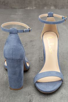 No one does it quite like the Taylor Blue Suede Ankle Strap Heels! Whether you choose to dress them up or down, these vegan suede, single sole heels will stun with their slender toe strap, and adjustable ankle strap (with gold buckle).