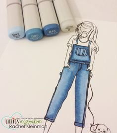 Great Copic Color Combo for Denim jeans from Unity Hop Copic Marker Art, Copic Pens, Copic Sketch Markers, Copic Art, Copics, Copic Drawings, Marker Drawings, Copic Markers Tutorial, Spectrum Noir Markers