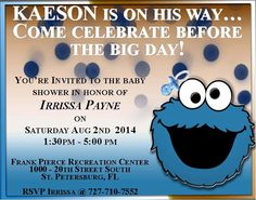 Cookie Monster Baby Shower Them Invitation.