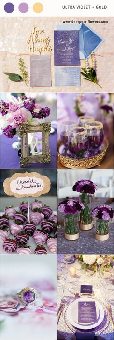 pantone wedding color 2018- Ultra violet and gold wedding color palette idea / http://www.deerpearlflowers.com/ultra-violet-wedding-color-palette-idea/