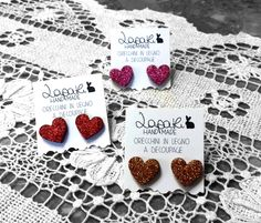 Wooden glitter earrings Made with LOVE!