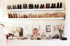No Closet In Your Bedroom? Here Are 5 Design Solutions To Try - DIY white built-in shelving become chic shoe + designer bag storage