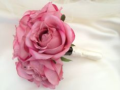 "Bridesmaid artificial flowers pink rose bouquet - ""Pretty in Pink"" on Etsy, £25.00"