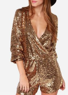 Shining Sequins Decorated Long Sleeve V Neck Mini Rompers   Rosewe.com