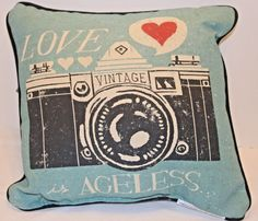 Vintage Camera Pillow Love is Ageless Love at First Sight  #ManualWoodworkers