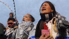 WaterProtectors pray for their people and Mother Earth.  #DressLikeAWomen #NoDAPL #WaterIsLife