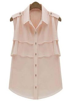 To find out about the Light Pink Lapel Sleeveless Cascading Ruffle Chiffon Blouse at SHEIN, part of our latest Blouses ready to shop online today! Chiffon Ruffle, Chiffon Shirt, Sleeveless Blouse, Ruffle Blouse, Ruffles, Mode Rose, Summer Blouses, Look Chic, Mode Style