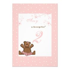 Shop Ballerina Bear Birthday Invitation created by PixiePrints. Diy 1st Birthday Invitations, Halloween Invitations, Photo Invitations, Pink Invitations, Birthday Ideas, Polka Dot Birthday, Bear Birthday, Girl First Birthday, Ballerina Birthday Parties