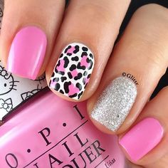 heart-shaped leopard print accent nail with pink and silver Pink Leopard Nails, Pink Gel Nails, Cute Acrylic Nails, Diy Nails, Cute Nails, Leopard Spots, Acryl Nails, Manicure, Pretty Nail Art