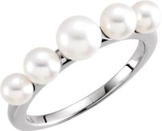 6475 / 14kt White / Unset / Polished / 5 Stone Graduated Pearl Ring Mounting