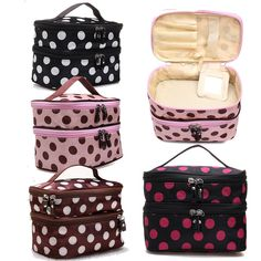 Retro Double Layer Zipper Dot Cosmetic Bag Polyester Toiletry Case