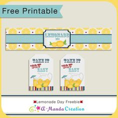 Happy National Lemonade Day!   FREE printable water bottle wrapper and tag set from #AmandaCreation!