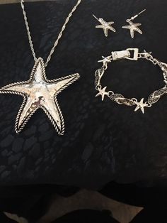 Star Fish Necklace, Bracelet, And Earring Set With Black Underlay Made Of Sterling Silver by venicebytheseajewels on Etsy Sea Jewelry, Jewelry Accessories, Unique Jewelry, Starfish Necklace, Silver Stars, Earring Set, Venice, Sterling Silver, Diamond
