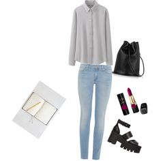 A fashion look from February 2015 featuring long sleeve tops, super skinny jeans and platform shoes. Browse and shop related looks.