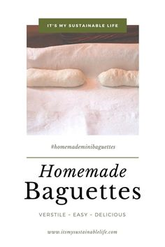 These homemade baguettes are simple to make using only 4 ingredients, crusty on the outside and chewey and divine on the inside. Just how we like it. | It's My Sustainable Life @itsmysustainablelife #homemadebaguettes #easyhomemadebaguetterecipe #homemadebaguetterecipe #homemademinibaguettes #homemadefrenchbaguettes #crustyfrenchbaguettes #easyfrenchbaguettes #itsmysustainablelife New Recipes, Baking Recipes, Whole Food Recipes, Muffin Recipes, Homemade Baguette Recipe, Natural Living, Simple Living, Yeast Bread Recipes, Recipe From Scratch