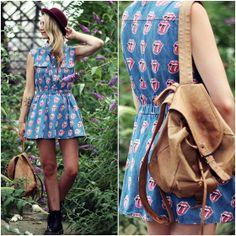 Chicnova Dress, H Hat, Dr. Martens Boots, Vintage Backpack